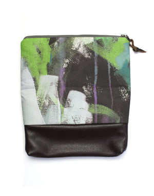 Wellspring foldover clutch in purple and green