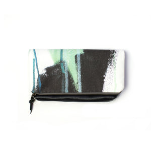 Wings foldover clutch in teal
