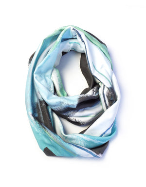 Wings skinny infinity scarf in aqua and black