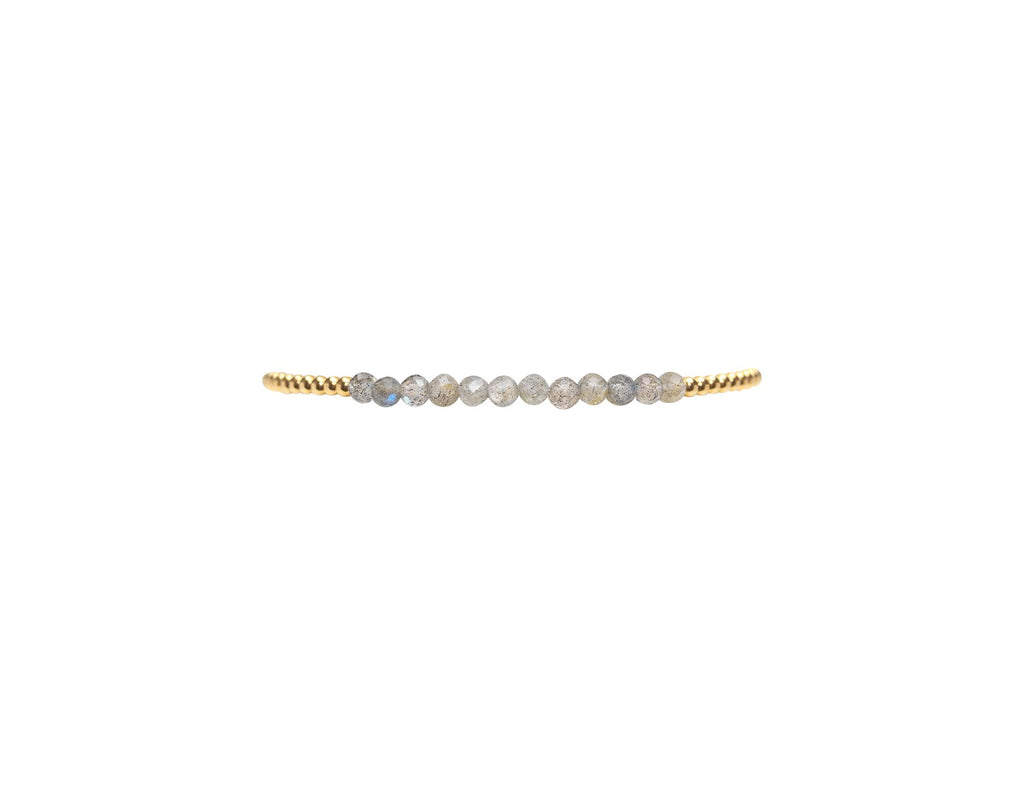 2mm Yellow Gold Bracelet with Labradorite