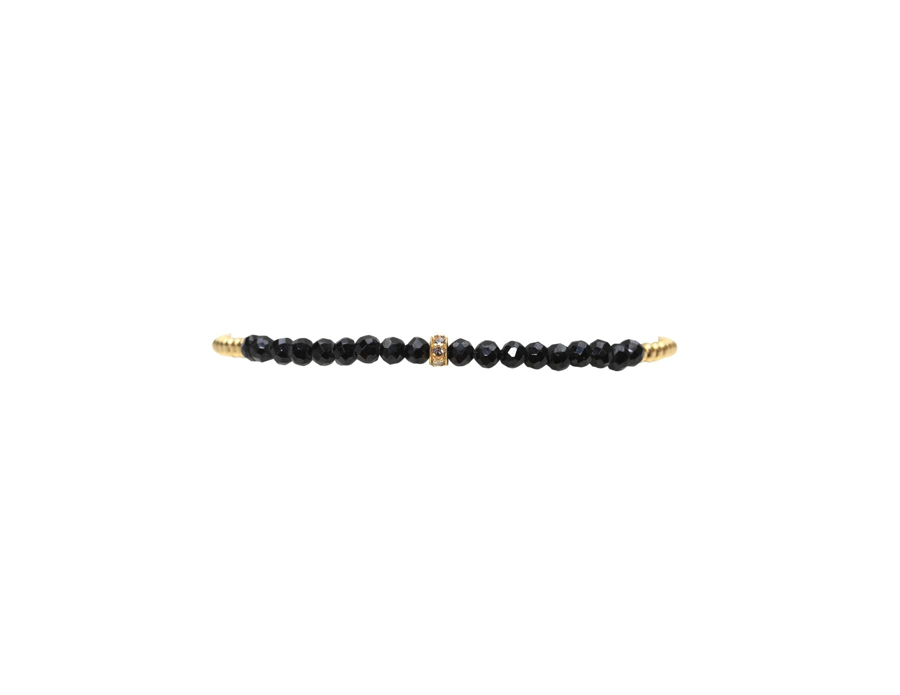 2MM Yellow Gold Filled Bracelet with Spinel and Diamond Rondel