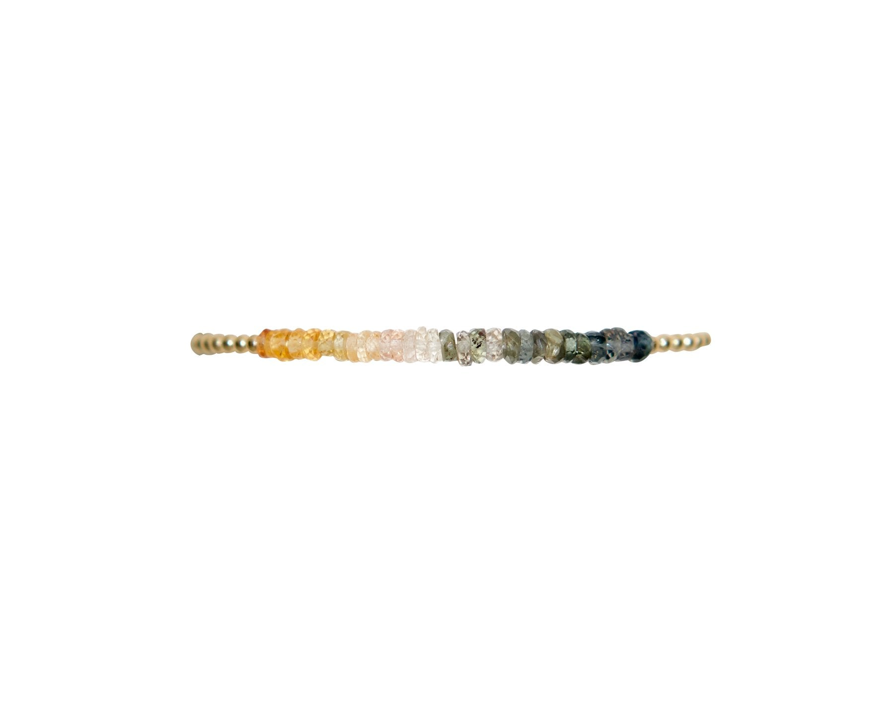 2mm Yellow Gold Filled Bracelet with Peachy Sapphire Ombre