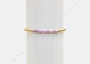3mm Yellow Gold Bracelet with Pink Silverite
