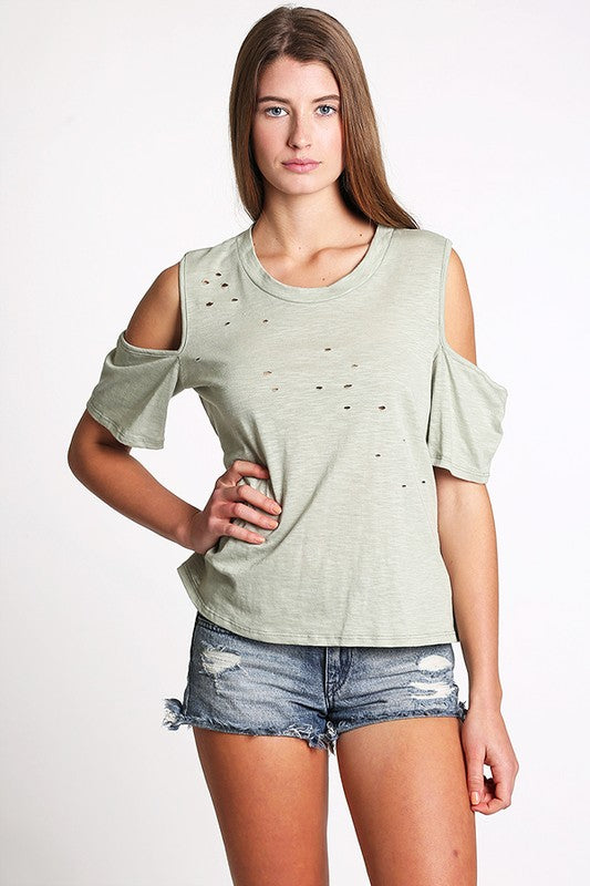 """Cold Shoulder Attitude"" Laser-cut Top"