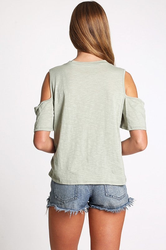 Ripped Holes Cold Shoulder Top