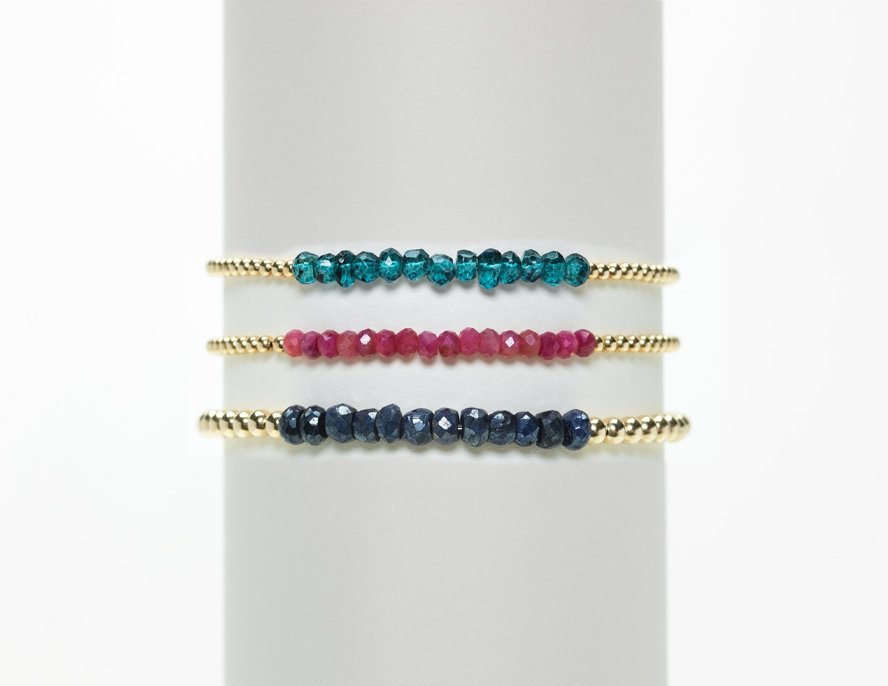 2mm Yellow Gold Filled Bracelet with Limited Edition Ruby