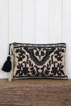 Vintage Inspired Beaded Jute Clutch