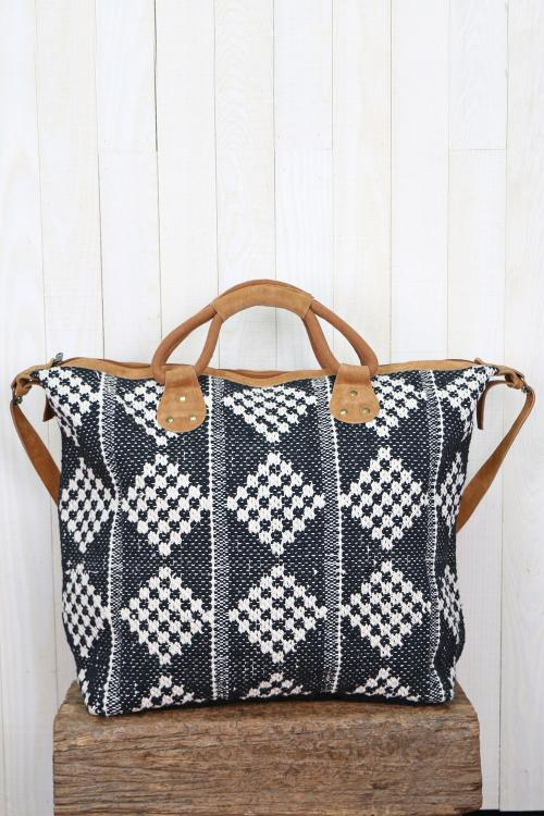 Checkerboard Patterned Getaway Bag