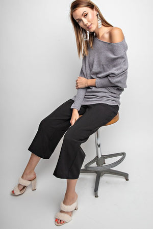 Brushed Off Shoulder Asymmetrical Dolman Sleeve Sweater (2 colors)