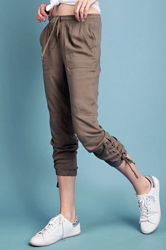 Side Lace-up Cropped Jogger Pants (2 colors)