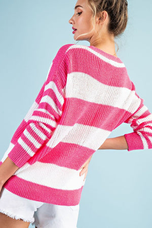Hot Pink Striped Purl Knit Sweater