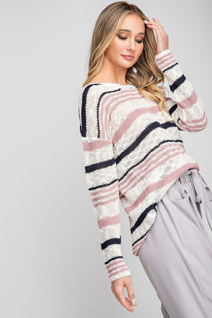 Multi-striped Purl Knit Sweater