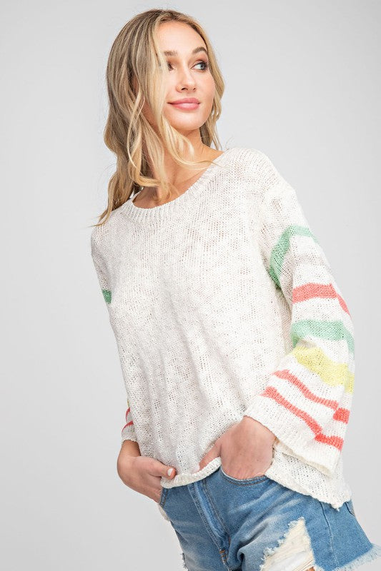 """Beachy Keen"" Striped Sleeves Sweater"
