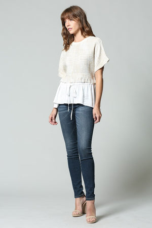 Contrasting Tweed Top with Peplum Hem