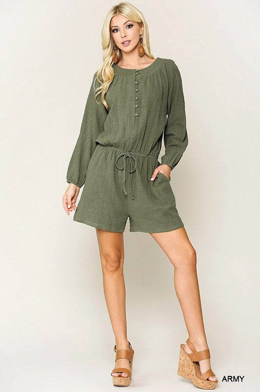 """Peasant Days"" Button Down Romper"