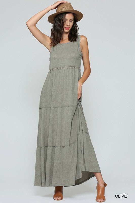 """Peek-a-Boo"" Sleeveless Cutout Back Maxi Dress"