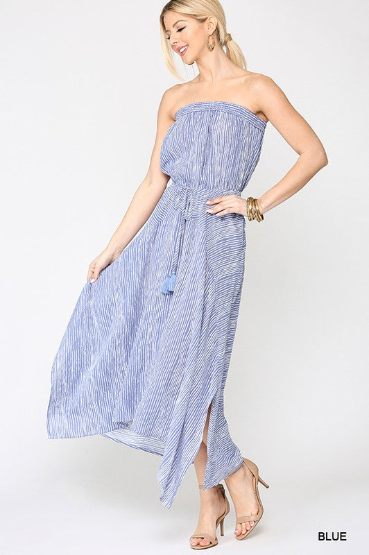 """Tubular"" Strapless Midi Dress"