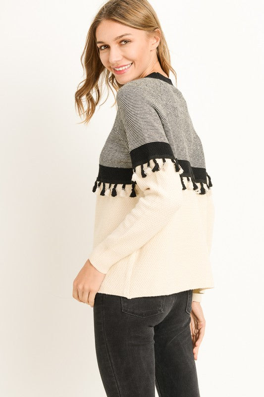 Fringed Pullover Sweater