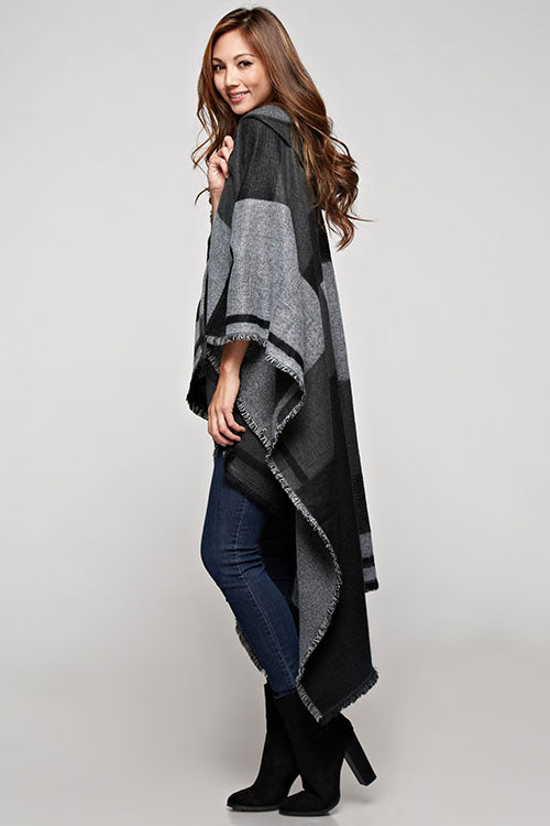 Hooded Plaid Scarf Poncho