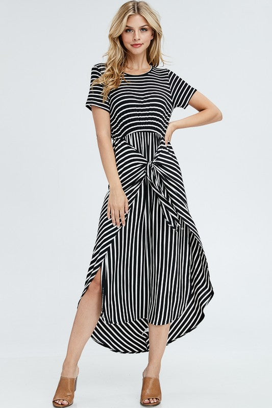 Tie Front Striped Maxi
