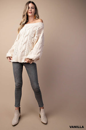 Cable-detailed Puff Sleeve Off-the-shoulder Pullover Sweater (3 colors)
