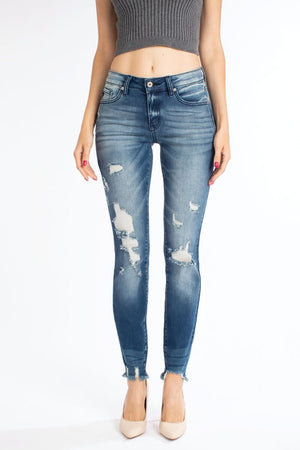 Midrise Distressed Ankle Skinny Jeans