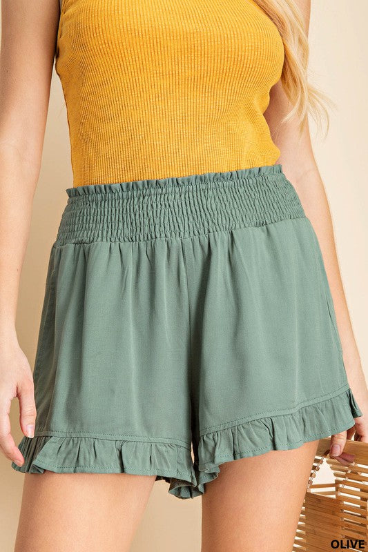 """Pretty and Playful"" Ruffle Hem Shorts (2 colors)"