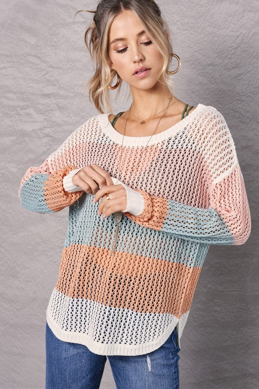 """Summer Nights"" Open Weave Colorblock Sweater (2 colors)"