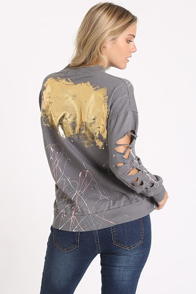 Laser-cut Long Sleeve Graffiti Print Sweatshirt (2 colors)