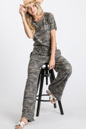 Wide Leg Camo Jumpsuit
