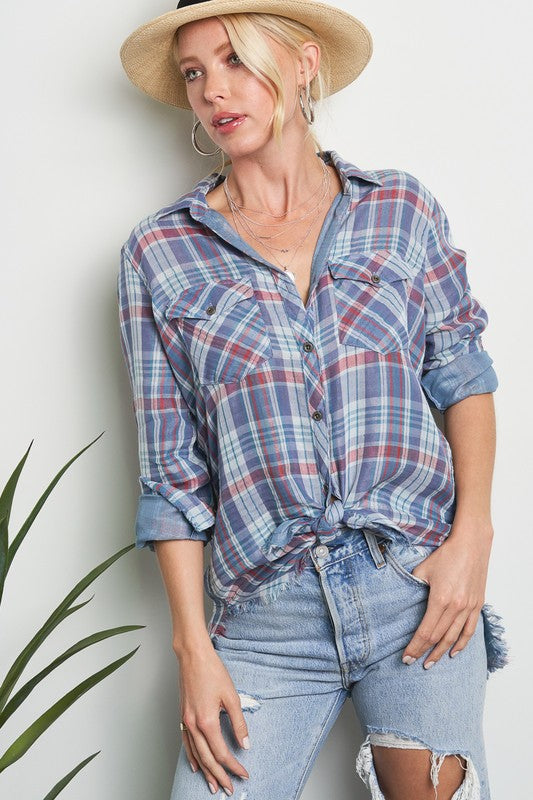 Summer-weight plaid button-down shirt