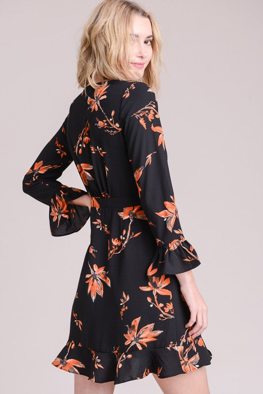 Floral Ruffled Wrap Dress
