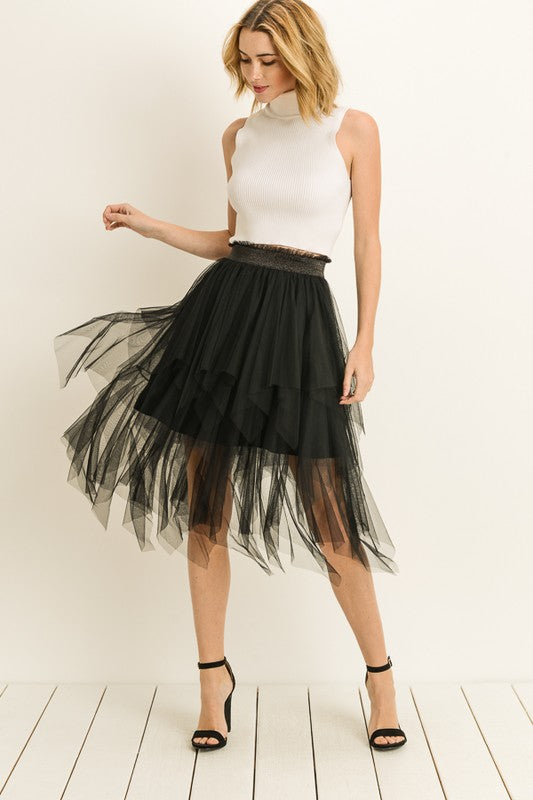 Layered Mesh Tulle Skirt