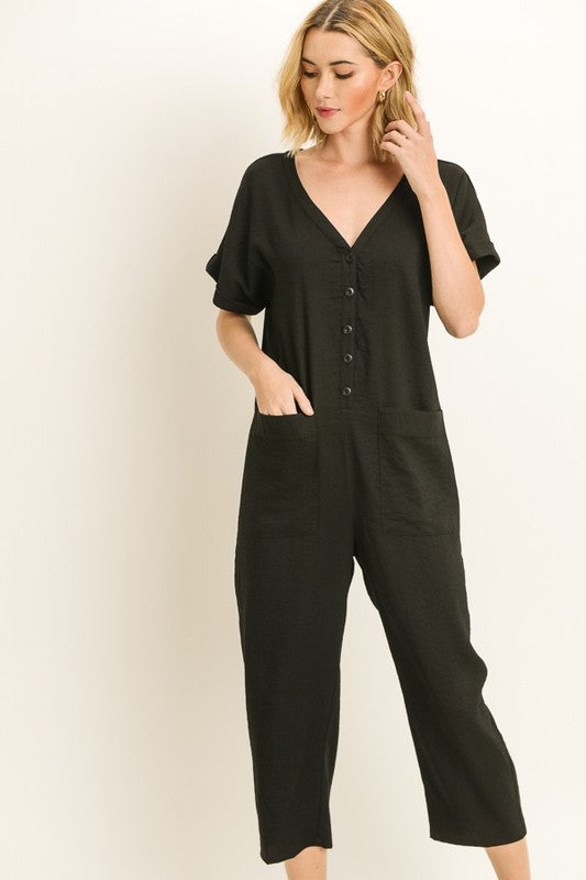 Pocket V-Neck Jumpsuit
