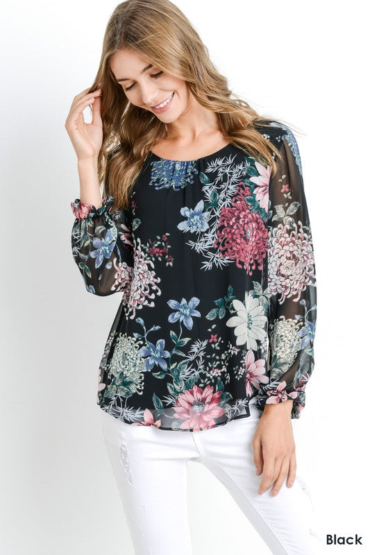 Floral Print Long Sleeve Chiffon Top
