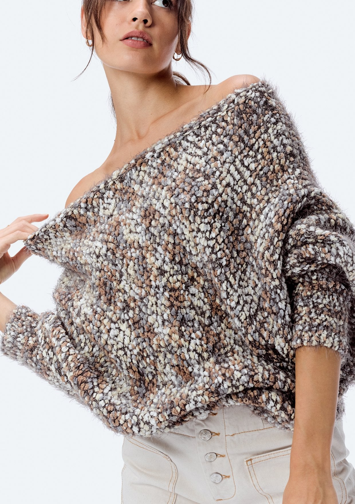 Fuzzy Popcorn Off the Shoulder Sweater