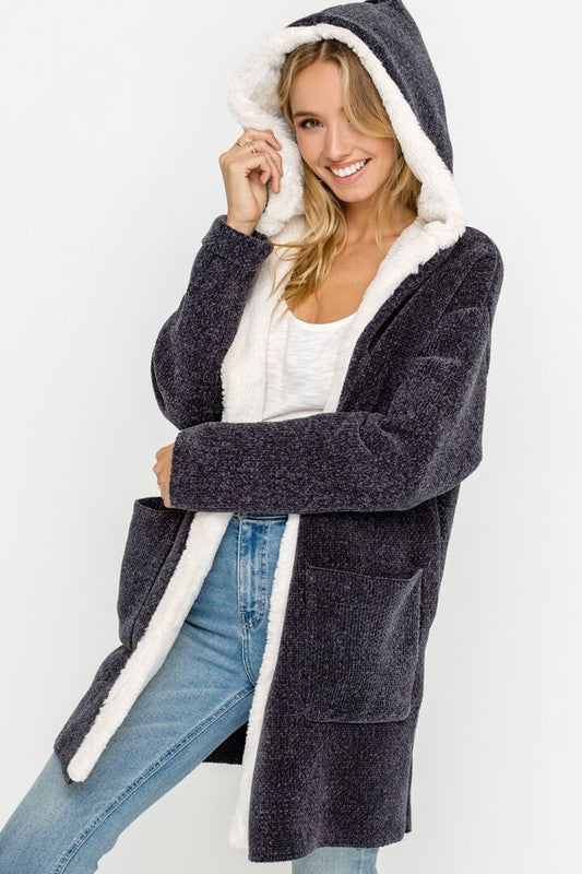 Chenille Open-front Cardigan Hoodie