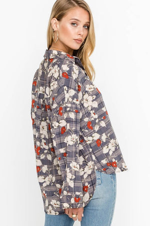 V-neck Collared Floral Plaid Blouse
