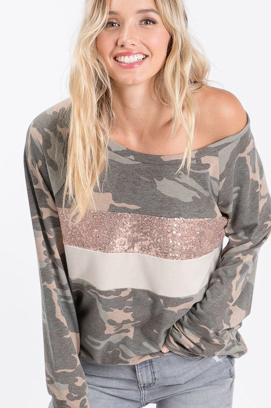 """Can You See Me?"" Camo Colorblock Long Sleeve Top"
