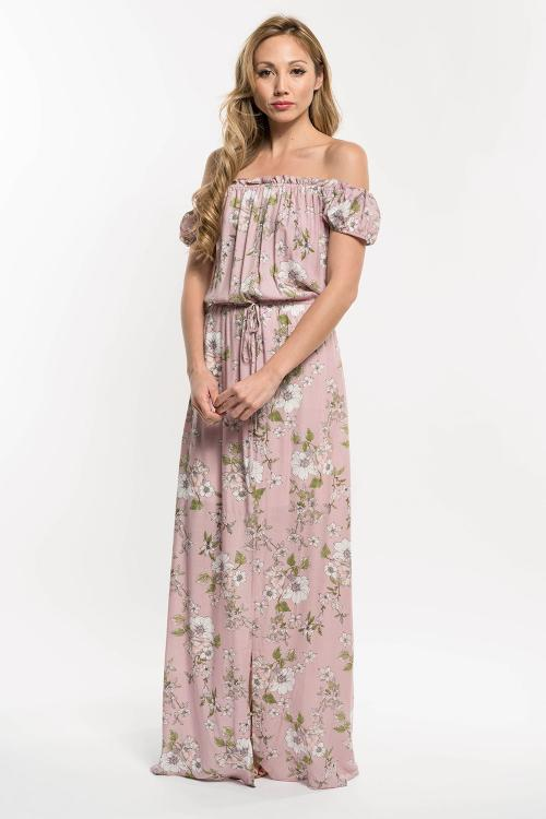 """Romantic Floral"" Off the Shoulder Maxi"