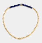 2MM Yellow Gold Filled Bracelet with Lapis and Diamond Rondel