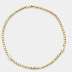 2mm Yellow Gold Filled Bead Bracelet with Sterling Silver Rondel Pattern
