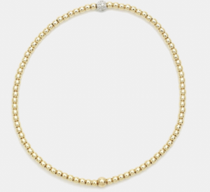 2MM Yellow Gold Filled Bracelet with 14k Gold Diamond Bead