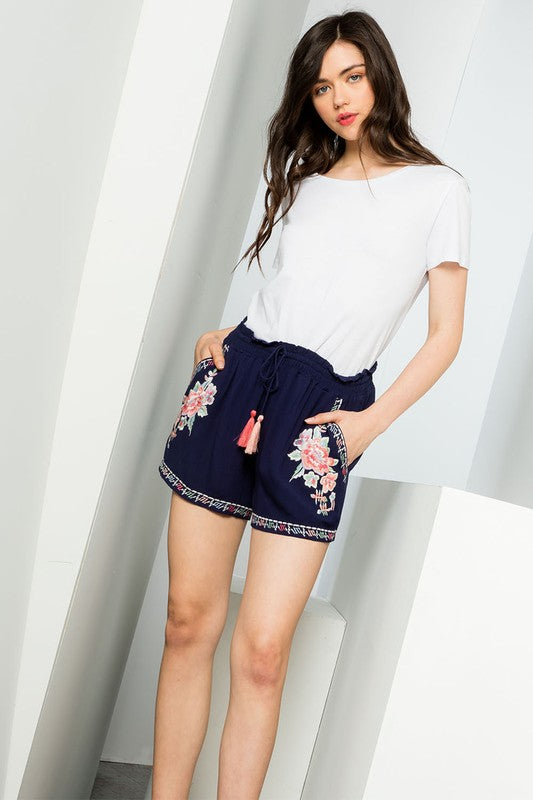 THML Navy Embroidered Shorts