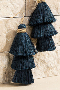 Three-tiered Navy Blue Tassel Earrings