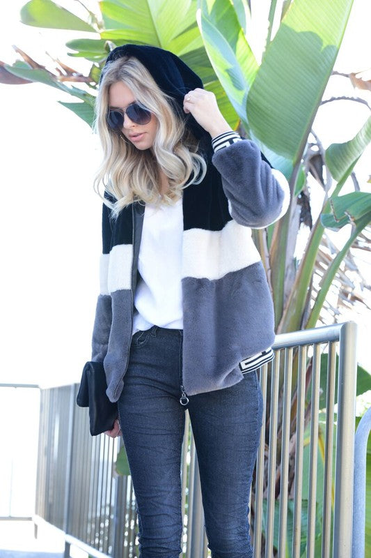Faux Fur Tricolor Teddy Jacket