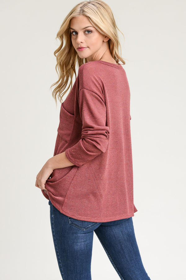Long Sleeve Button Trim Pocket Top (2 colors)