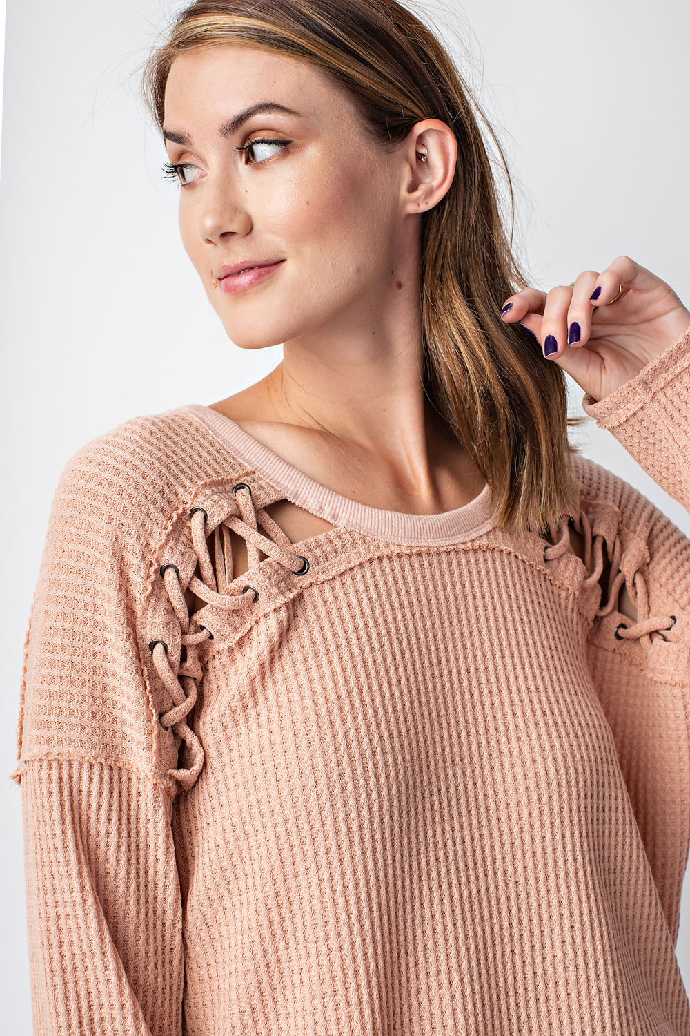 Crisscross lacing accent sweater (2 colors)