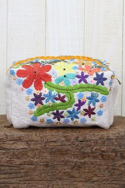 Embroidered Origami Makeup Bag