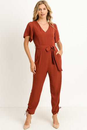 Tie Waist, Ankle Laced Jumpsuit (2 colors)